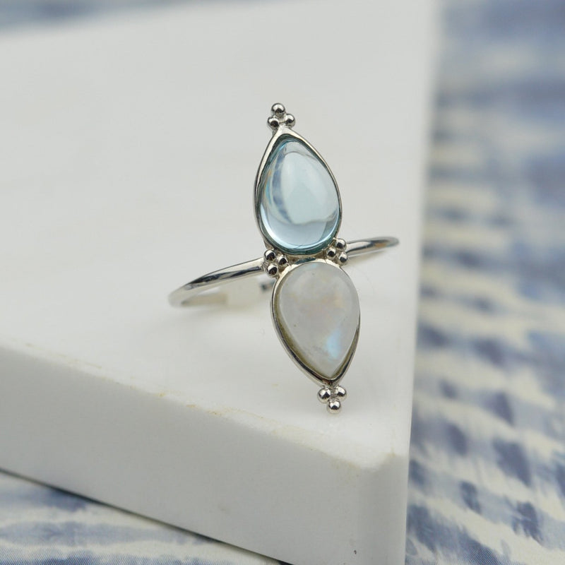 Rainbow Moonstone and Blue Topaz Duo Ring