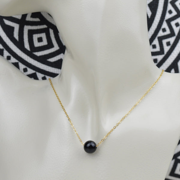 Necklace - Floating Black Onyx Bead Necklace