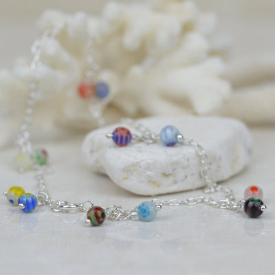 Anklets - Sterling Silver And Glass Bead Anklet