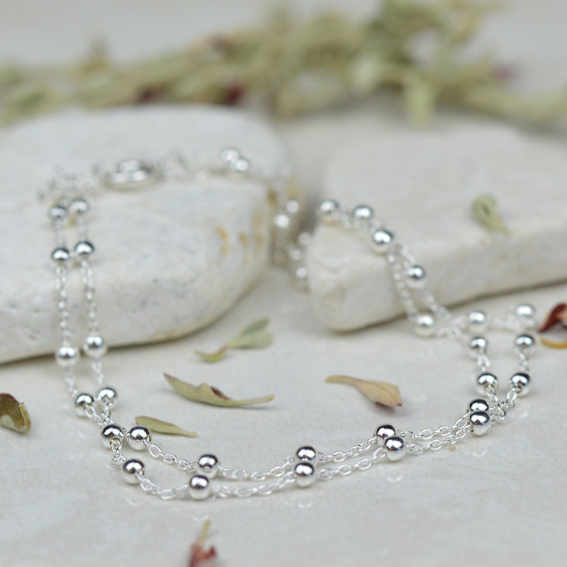 Anklets - Sterling Silver Double Strand Ball And Chain Anklet