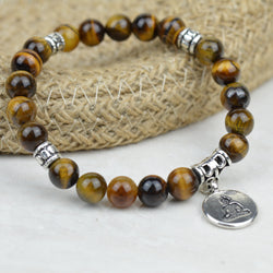 Bracelets - Tiger's Eye Bracelet With Buddha Charm