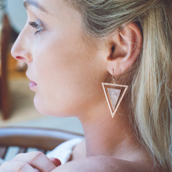 Earrings - 14 Karat Rose Gold Plated Rose Quartz Triangle Earrings