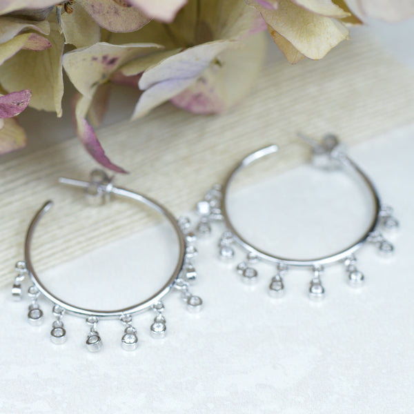 Earrings - Cubic Zirconia & Sterling Silver Hoop Earrings