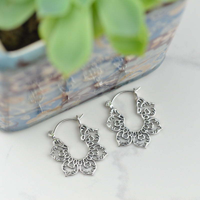 Earrings - Lotus Mandala Hoop Earrings