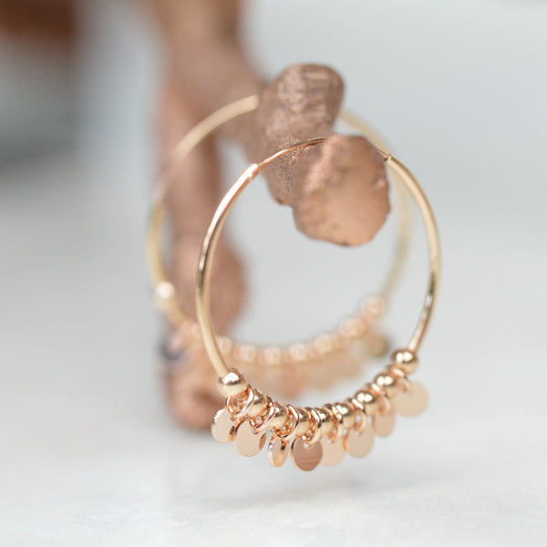 Earrings - Rose Gold Gypsy Hoops