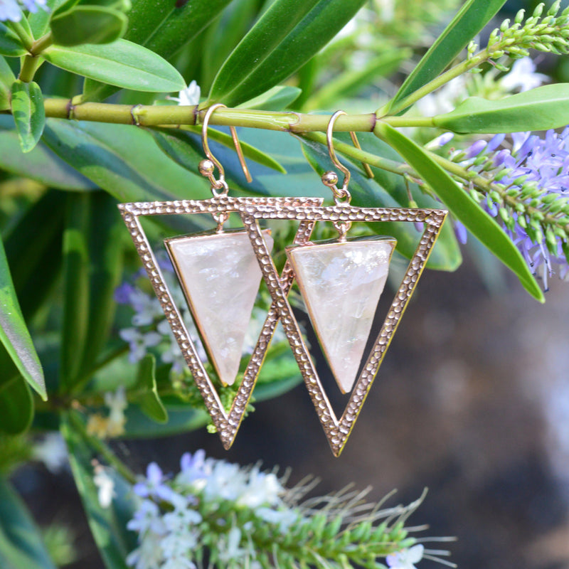 Earrings - Rose Quartz Triangle Earrings