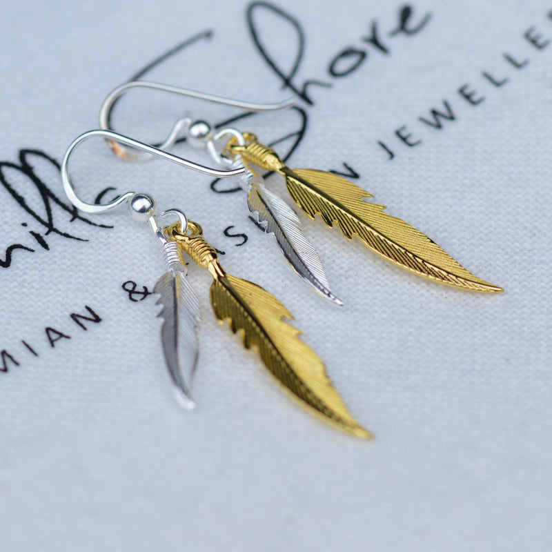 Earrings - Sterling Silver And Gold Plated Boho Feather Earrings