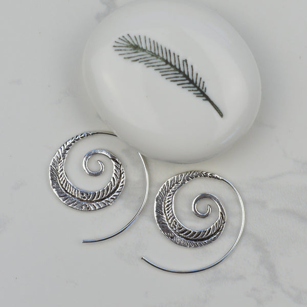 Earrings - Feather Spiral Earrings