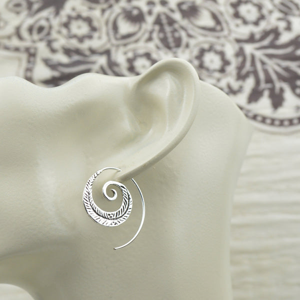 Earrings - Sterling Silver Feather Spiral Earrings