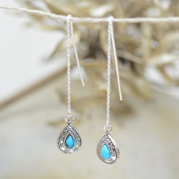 Earrings - Turquoise And Sterling Silver Bohemian Bliss Thread Earrings