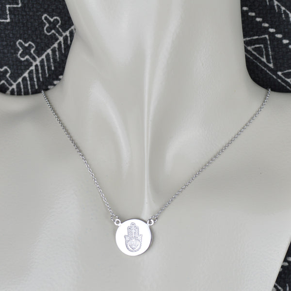 Necklaces - Hamsa Hand Disc Necklace