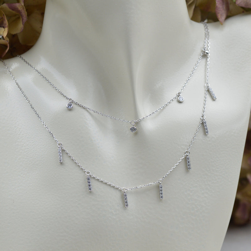 Necklaces - Sterling Silver Layered Choker With CZ