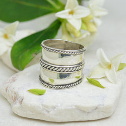 Rings - Bali Sterling Silver Ring With Swirl Design