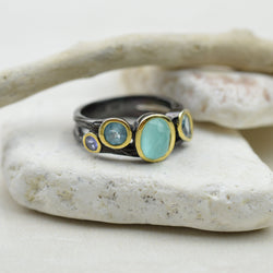 Rings - Tanzanite, Blue Topaz And Clear Quartz Multi Stone Ring