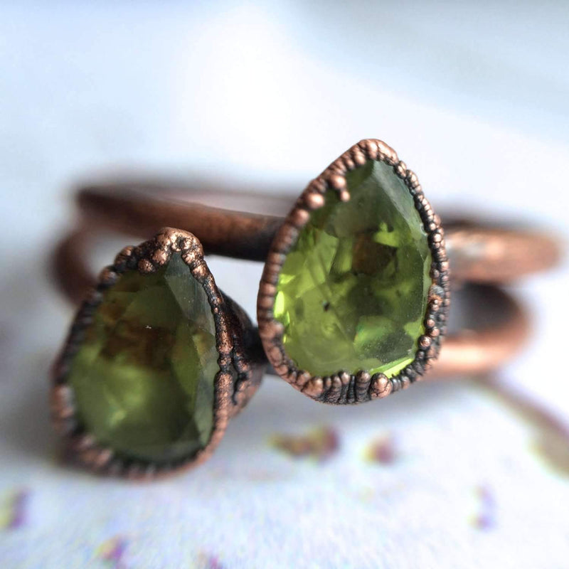 Rings - Rings - Peridot Teardrop and Copper Ring
