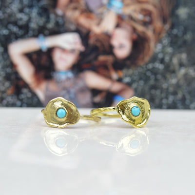 Rings - Rising Sun Brass And Turquoise Ring