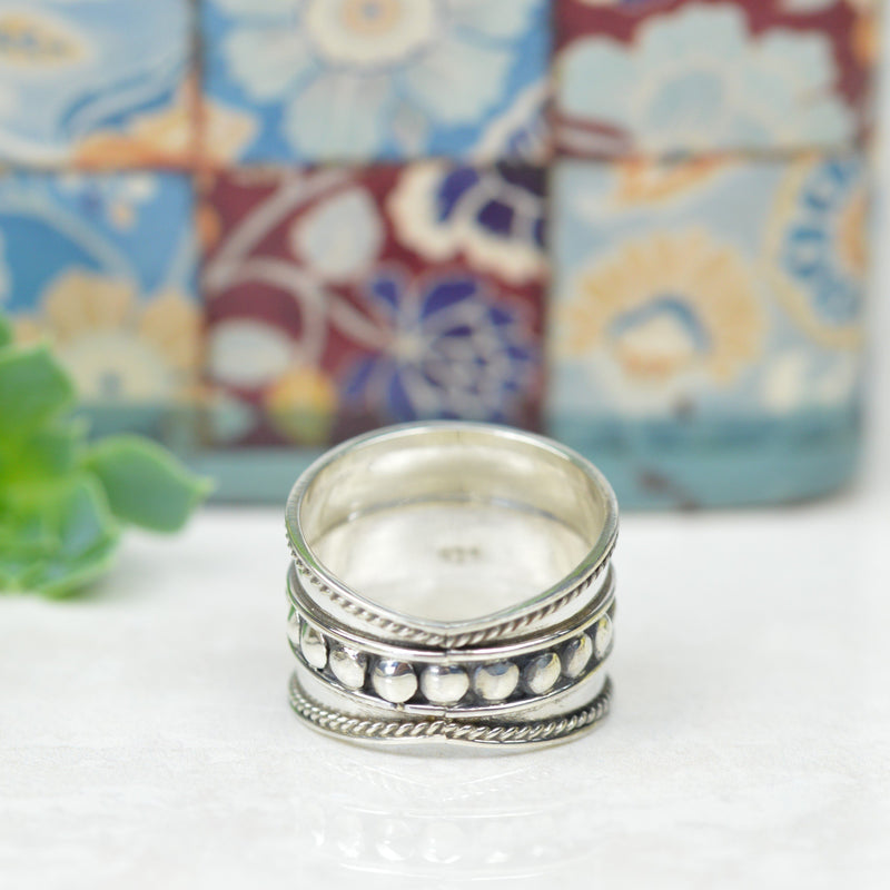 Rings - Silver Bali Wide Band Ring