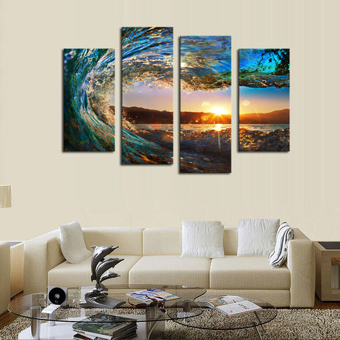 4-Panel Framed Sea Wave Scenery on Canvas Painting