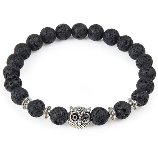 The Owl head Charm Natural Stone Energy Bracelet !