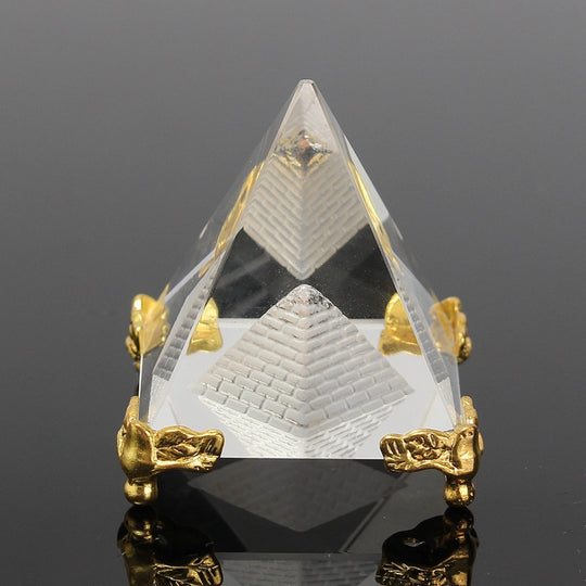 New Modern Energy Healing Small Feng Shui Egyptian Crystal Clear Pyramid