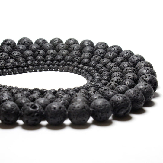 Natural Black Volcanic Lava Stone  Beads
