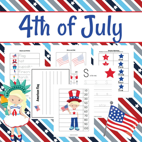 4th of July Patriotic Early Learning Pack