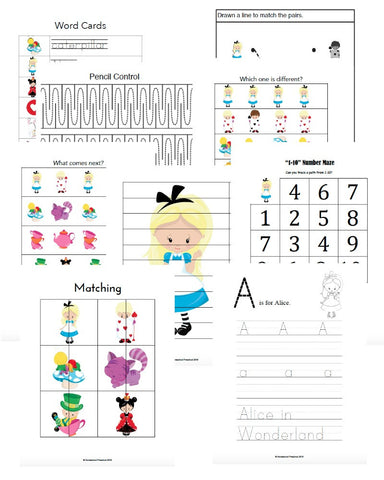 Alice in Wonderland Inspired Early Learning Activities