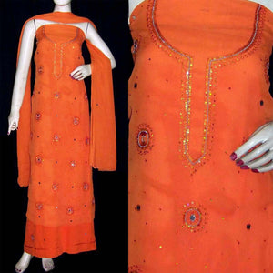 ORANGE MICRO CHIFFON UNSTITCHED SALWAR KAMEEZ SUIT DRESS MATERIAL w SEQUINS WORK LADIES DEN - Ladies Den