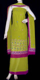 YELLOW GREEN GEORGETTE UNSTITCHED SALWAR KAMEEZ SUIT DRESS MATERIAL ZARI KUNDAN SEQUINS WORK LADIES DEN - Ladies Den