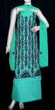 AQUAMARINE COTTON UNSTITCHED SALWAR KAMEEZ SUIT HEAVY RESHAM EMBR MATERIAL LADIES DEN - Ladies Den