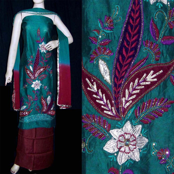 TEAL-MAROON CHANDERI SILK UNSTITCHED SALWAR KAMEEZ SUIT DRESS MATERIAL RESHAM & VELVET EMBR LADIES DEN - Ladies Den