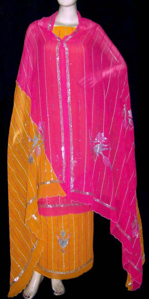 DARK TURMERIC-MAGENTA GEORGETTE UNSTITCHED SALWAR KAMEEZ SUIT DRESS MATERIAL HEAVY DUPATTA SEQUINS WORK LADIES DEN - Ladies Den