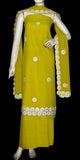 YELLOW GREEN MICRO CHIFFON UNSTITCHED SALWAR KAMEEZ SUIT DRESS MATERIAL CUTWORK DUPATTA KUNDAN WORK LADIES DEN - Ladies Den