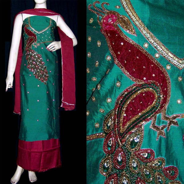 TEAL GREEN-RED CHANDERI SILK UNSTITCHED SALWAR KAMEEZ SUIT DRESS MATERIAL KUNDAN & VELVET WORK LADIES DEN - Ladies Den