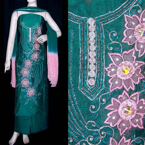 TEAL CHANDERI SILK UNSTITCHED SALWAR KAMEEZ SUIT DRESS MATERIAL RESHAM, KUNDAN & VELVET WORK LADIES DEN - Ladies Den