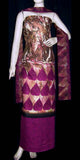 VIOLET RED PRINTED PASHMINA WOOL UNSTITCHED SALWAR KAMEEZ SUIT DRESS MATERIAL LADIES DEN - Ladies Den