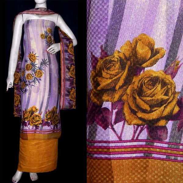 LAVENDER-YELLOW PRINTED PASHMINA WOOL UNSTITCHED SALWAR KAMEEZ SUIT DRESS MATERIAL LADIES DEN - Ladies Den