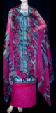 BLUE-HOTPINK PRINTED PASHMINA WOOL UNSTITCHED SALWAR KAMEEZ SUIT DRESS MATERIAL LADIES DEN - Ladies Den