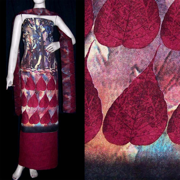 MAROON RED PRINTED PASHMINA WOOL UNSTITCHED SALWAR KAMEEZ SUIT DRESS MATERIAL LADIES DEN - Ladies Den