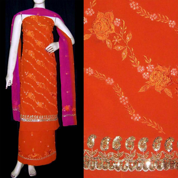 RUSTY ORANGE GEORGETTE UNSTITCHED SALWAR KAMEEZ SUIT DRESS MATERIAL RESHAM & SEQUINS EMBR LADIES DEN - Ladies Den