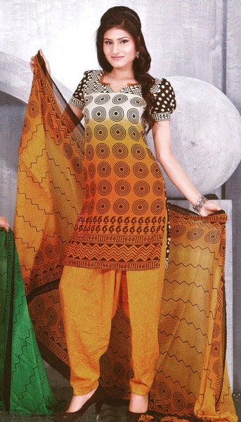 WHITE-YELLOW PRINTED COTTON UNSTITCHED SALWAR KAMEEZ SUIT DRESS MATERIAL LADIES DEN - Ladies Den