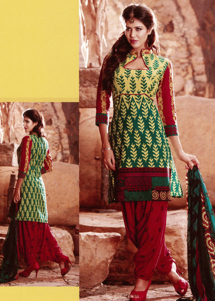 YELLOW-GREEN-RED DESIGNER PRINTED COTTON UNSTITCHED PATIALA SALWAR KAMEEZ SUIT DRESS MATERIAL LADIES DEN - Ladies Den