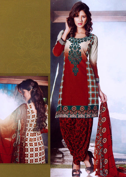 afa2008ed2 RUSTY BROWN DESIGNER PRINTED COTTON UNSTITCHED PATIALA SALWAR KAMEEZ SUIT  DRESS MATERIAL LADIES DEN