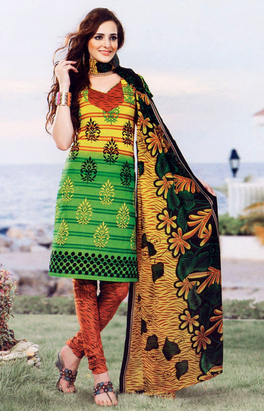 YELLOW-LIME GREEN PRINTED COTTON UNSTITCHED SALWAR KAMEEZ SUIT DRESS MATERIAL LADIES DEN - Ladies Den