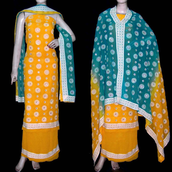 YELLOW GEORGETTE UNSTITCHED SALWAR KAMEEZ SUIT DRESS MATERIAL HEAVY DUPATTA KUNDAN & SEQUINS WORK LADIES DEN - Ladies Den