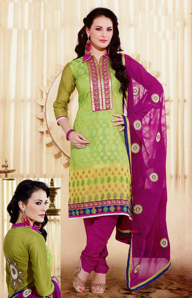 LIME-VIOLETRED BANARASI SILK UNSTITCHED PATIALA SALWAR KAMEEZ SUIT DRESS MATERIAL w EMBR LADIES DEN - Ladies Den
