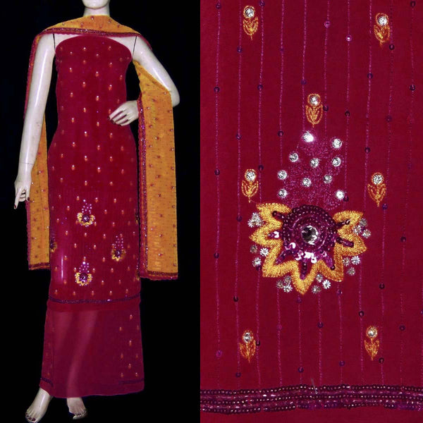 MAROON RED GEORGETTE UNSTITCHED SALWAR KAMEEZ SUIT DRESS MATERIAL HEAVY DUPATTA RESHAM, KUNDAN & SEQUINS EMBR LADIES DEN - Ladies Den