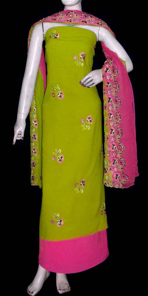 YELLOW GREEN GEORGETTE CREPE UNSTITCHED SALWAR KAMEEZ SUIT DRESS MATERIAL PURE DUPATTA RESHAM EMBR LADIES DEN - Ladies Den
