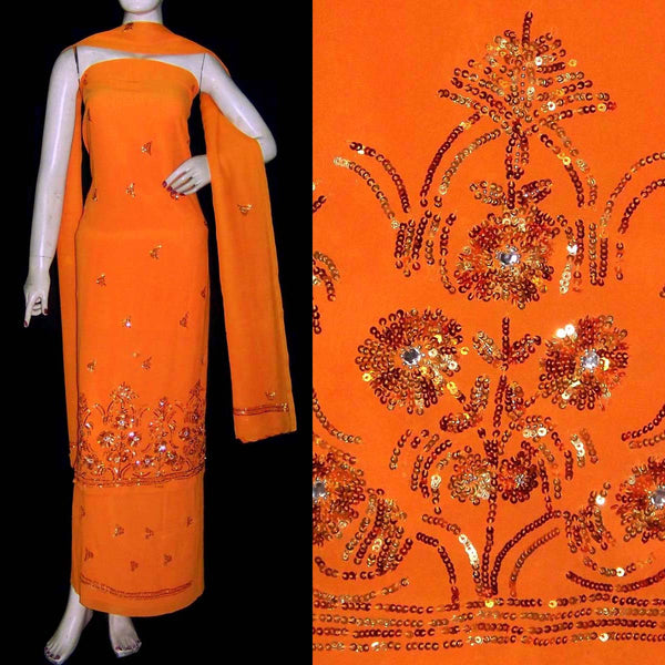 ORANGE GEORGETTE UNSTITCHED SALWAR KAMEEZ SUIT DRESS MATERIAL KUNDAN & SEQUINS WORK LADIES DEN - Ladies Den