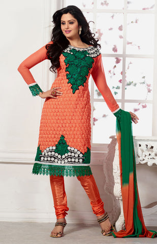PASTEL ORANGE KARACHI EMBR GEORGETTE UNSTITCHED SALWAR KAMEEZ SUIT DRESS MATERIAL DUPATTA w EMBR LADIES DEN - Ladies Den